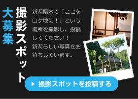 撮影スポット大募集 新潟県内で「ここをロケ地に!」という場所を撮影し、投稿してください!新潟らしい写真をお待ちしています。 撮影スポットを投稿する
